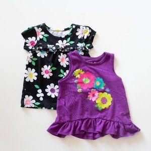 2 Baby Toddler Girl Dresses Shirts Flower Summer
